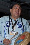 Tom Goldtooth participates in a cleansing ceremony. Members of the International Peoples Forum on Climate Change preform a cleansing ceremony for the conference party leaders to cleanse their minds and spirits, for clarity, compassion strength and perseverance in coming out of the COP negotiations with a binding commitment to Save Mother Earth. (Images free for Editorial Web usage for Fresh Air Participants during COP 15. Credit: Robert vanWaarden)