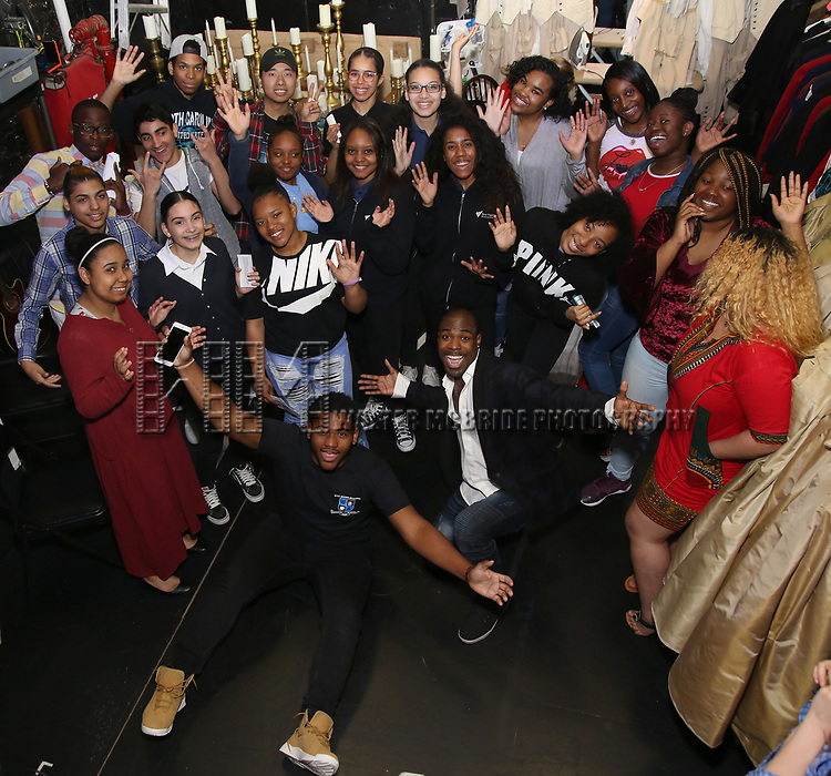 "Justin Dine Bryant with High School Student performers during a Q & A before The Rockefeller Foundation and The Gilder Lehrman Institute of American History sponsored High School student #eduHam matinee performance of ""Hamilton"" at the Richard Rodgers Theatre on May 9, 2018 in New York City."