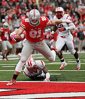 Ohio State Buckeyes tight end Nick Vannett (81) scores a touchdown in the second quarter of an NCAA college football game between The Ohio State Buckeyes and the Rutgers Scarlet Knights at Ohio Stadium on Saturday, October 18, 2014.  (Columbus Dispatch photo by Fred Squillante)