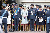 Prince William, Catherine Duchess of Cambridge, Prince Harry, Meghan Duchess of Sussex, Prince Andrew<br /> The Royal Family watch RAF centenary fly-past at Buckingham Palace, The Mall, London, England on July 10, 2018.<br /> CAP/GOL<br /> &copy;GOL/Capital Pictures
