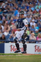 Trenton Thunder catcher Francisco Arcia (18) during an Eastern League game against the New Hampshire Fisher Cats on August 20, 2019 at Arm & Hammer Park in Trenton, New Jersey.  New Hampshire defeated Trenton 7-2.  (Mike Janes/Four Seam Images)