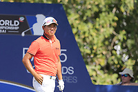 Ashun Wu (CHN) on the 14th tee during the 2nd round of the DP World Tour Championship, Jumeirah Golf Estates, Dubai, United Arab Emirates. 16/11/2018<br /> Picture: Golffile | Fran Caffrey<br /> <br /> <br /> All photo usage must carry mandatory copyright credit (© Golffile | Fran Caffrey)