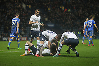 Preston North End's Alan Brownecelebrates scoring his sides third goal <br /> <br /> Photographer Mick Walker/CameraSport<br /> <br /> The EFL Sky Bet Championship - Preston North End v Leeds United - Tuesday 10th April 2018 - Deepdale Stadium - Preston<br /> <br /> World Copyright &copy; 2018 CameraSport. All rights reserved. 43 Linden Ave. Countesthorpe. Leicester. England. LE8 5PG - Tel: +44 (0) 116 277 4147 - admin@camerasport.com - www.camerasport.com