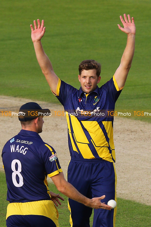Craig Meschede of Glamorgan celebrates taking the wicket of James Foster