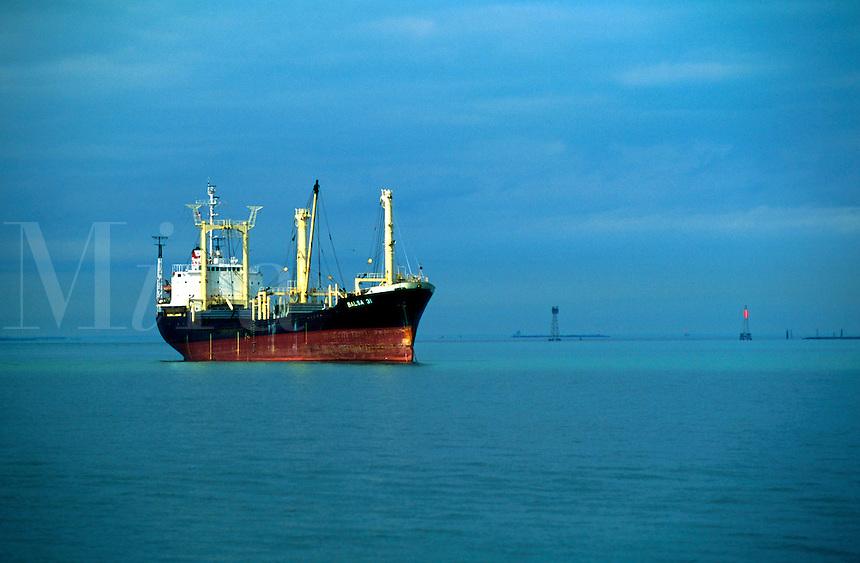 A cargo ship at anchor.