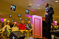 Ray Lewis talks about life and adversity at the Eleventh Annual Race for Grace fundraiser on Millionaire's Row at Churchill Downs in Louisville, Kentucky on April 29, 2013. (copyright Scott Serio/Eclipse Sportswire, all rights reserved)