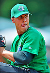 4 July 2012: Vermont Lake Monsters pitcher J.C. Menna warms up prior to a game against the Hudson Valley Renegades at Centennial Field in Burlington, Vermont. The Lake Monsters edged out the Renegades the Cyclones 2-1 in NY Penn League action. Mandatory Credit: Ed Wolfstein Photo