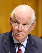 """United States Senator Ben Cardin (Democrat of Maryland), Ranking Member, US Senate Committee on Foreign Relations listens to testimony concerning """"Sanctions and the Joint Comprehensive Plan of Action (JCPOA)"""" on Capitol Hill on Wednesday, July 29, 2015.<br /> Credit: Ron Sachs / CNP"""