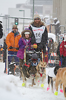 Trent Herbst leaves the 2011 Iditarod ceremonial start line in downtown Anchorage, during the 2012 Iditarod..Jim R. Kohl/Iditarodphotos.com