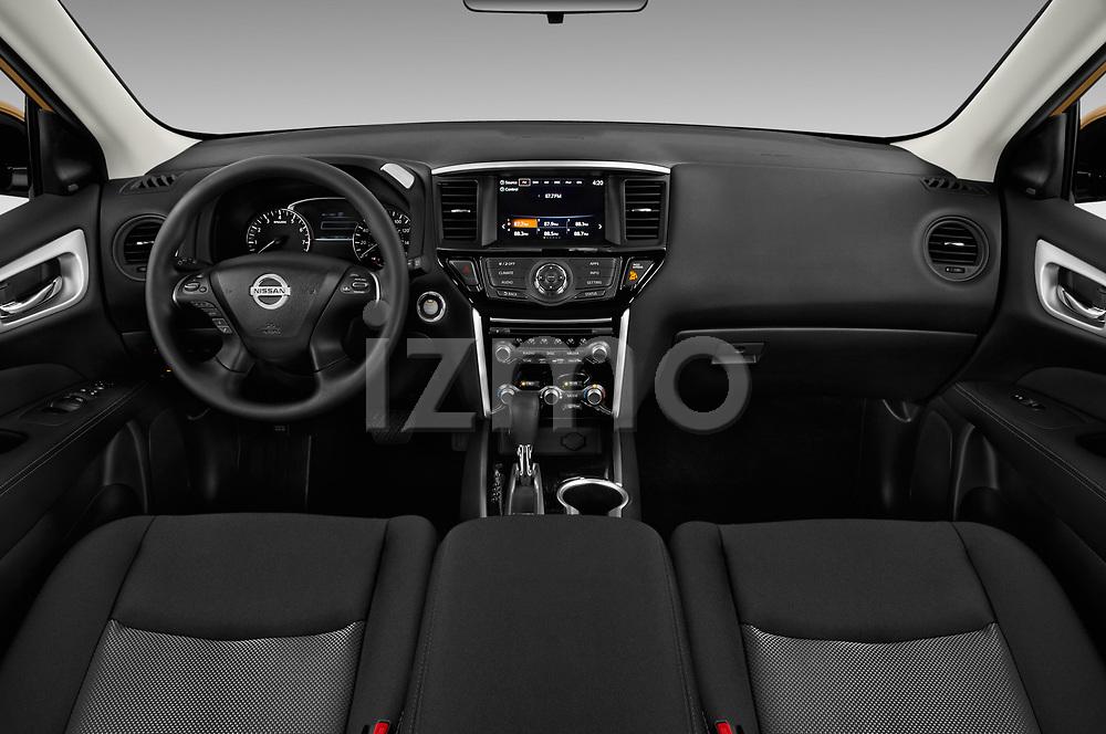 Stock photo of straight dashboard view of 2018 Nissan Pathfinder S 5 Door SUV Dashboard