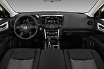 Stock photo of straight dashboard view of 2018 Nissan Pathfinder S 5 Door SUV Dashboard