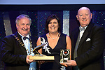 Mary Cornally, Clara Musical Society, Offaly winner of the Best Visual /Sullivan Section for their production of &quot;Cats' receiving the trophy from on left, Colm Moules, President, AIMS and Seamus Power, Vice-President at the Association of Irish Musical Societies annual awards in the INEC, KIllarney at the weekend.<br /> Photo: Don MacMonagle -macmonagle.com<br /> <br /> <br /> <br /> repro free photo from AIMS<br /> Further Information:<br /> Kate Furlong AIMS PRO kate.furlong84@gmail.com