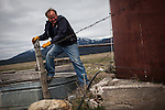 Former Montana Governor Brian Schweitzer climbs over a fence while working on one of his ranches near Ovando, Montana, May 7, 2014.<br /> CREDIT: Max Whittaker/Prime for The Wall Street Journal<br /> BRIAN
