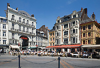 France, The North, Lille: Restaurants in the Place du Général de Gaulle in Vieux Lille