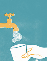Hand holding cup under tap with knotted water jet ExclusiveImage