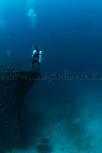 Images of scuba divers in the Maldives atolls of the Indian Ocean