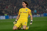 LIVERPOOL, GREAT BRITAN - NOVEMBER 5 : Gaetan Coucke goalkeeper of Genk celebrates during the UEFA Champions League match between Liverpool FC and KRC Genk on November 05, 2019 in Liverpool, Great Britan, 5/11/2019 <br /> Liverpool 5-11-2019 Anfield <br /> Liverpool - Genk <br /> Champions League 2019/2020<br /> Foto Photonews / Panoramic / Insidefoto <br /> Italy Only