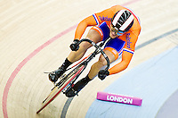 19 FEB 2012 - LONDON, GBR - The Netherland's Teun Mulder (NED) attempts to qualify for the Men's Sprint during the UCI Track Cycling World Cup, and London Prepares test event for the 2012 Olympic Games, in the Olympic Park Velodrome in Stratford, London, Great Britain (PHOTO (C) 2012 NIGEL FARROW)