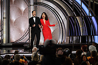 Hosts Andy Samberg and Sandra Oh onstage during the 76th Annual Golden Globe Awards at the Beverly Hilton in Beverly Hills, CA on Sunday, January 6, 2019.<br /> *Editorial Use Only*<br /> CAP/PLF/HFPA<br /> Image supplied by Capital Pictures
