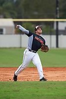 Gabriel Suarez (7) of Tampa, Florida during the Baseball Factory All-America Pre-Season Rookie Tournament, powered by Under Armour, on January 13, 2018 at Lake Myrtle Sports Complex in Auburndale, Florida.  (Michael Johnson/Four Seam Images)
