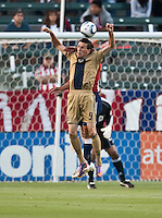 Philadelphia forward Sebastien Le Toux (9) heads a ball during the first half of the game between Chivas USA and the Philadelphia Union at the Home Depot Center in Carson, CA, on July 3, 2010. Chivas USA 1, Philadelphia Union 1.