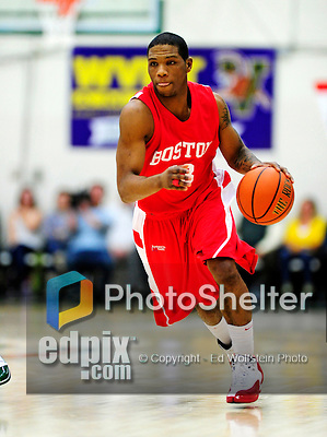 17 January 2010: Boston University Terriers' guard Corey Lowe, a Senior from Newton, MA, in action against the University of Vermont Catamounts at Patrick Gymnasium in Burlington, Vermont. The Catamounts, holding the lead for the entire game, defeated the Terriers 78-58. Mandatory Credit: Ed Wolfstein Photo