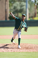 Oakland Athletics relief pitcher Wilkin Ramos (50) delivers a pitch during an Instructional League game against the Los Angeles Dodgers at Camelback Ranch on October 4, 2018 in Glendale, Arizona. (Zachary Lucy/Four Seam Images)
