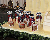 "Washington, DC - December 3, 2008 -- Detail of the annual White House Gingerbread House showing the Old Guard Fife and Drum Corps in the State Dining Room of the White House during a media preview of the 2008 holiday decorations and tasting event  in Washington, D.C. on Wednesday, December 3, 2008.  The theme of this years decorations is ""a Red, White, and Blue Christmas""..Credit: Ron Sachs / CNP"