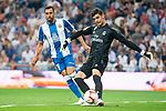 Real Madrid Thibaut Courtois and RCD Espanyol Borja Iglesias during La Liga match between Real Madrid and RCD Espanyol at Santiago Bernabeu Stadium in Madrid, Spain. September 22, 2018. (ALTERPHOTOS/Borja B.Hojas)