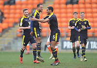 Oxford United's Jordan Graham (second left) celebrates scoring the opening goal with team-mate Curtis Nelson<br /> <br /> Photographer Kevin Barnes/CameraSport<br /> <br /> The EFL Sky Bet League One - Blackpool v Oxford United - Saturday 23rd February 2019 - Bloomfield Road - Blackpool<br /> <br /> World Copyright © 2019 CameraSport. All rights reserved. 43 Linden Ave. Countesthorpe. Leicester. England. LE8 5PG - Tel: +44 (0) 116 277 4147 - admin@camerasport.com - www.camerasport.com
