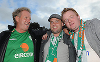 6th September 2013; Ireland supporters, Seamus Doran, Michael McDonnell and Kevin Waters from Leicester before the match. 2014 FIFA World Cup Qualifier, Group C,  Republic of Ireland v Sweden, Aviva Stadium, Dublin. Picture credit: Tommy Grealy/actionshots.ie.