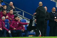 Manchester City manager Pep Guardiola throws his scarf at the dugout after protesting with the fourth official against a disallowed goal during the Fly Emirates FA Cup Fourth Round match between Cardiff City and Manchester City at the Cardiff City Stadium, Wales, UK. Sunday 28 January 2018