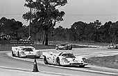 Sebring 12-Hour race 1971, winning Porsche Austria no. 3 trails pair of JWA Porsches in mid-day going; Photo by Pete Lyons 1971/ © 2014 Pete Lyons / petelyons.com
