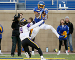 BROOKINGS, SD - NOVEMBER 16: Cade Johnson #15 of the South Dakota State Jackrabbits hauls in a touchdown pass over Xavior Williams #9 of the Northern Iowa Panthers during their game Saturday afternoon at Dana J. Dykhouse Stadium in Brookings, SD. (Photo by Dave Eggen/Inertia)