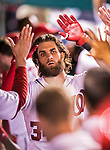 7 October 2017: Washington Nationals outfielder Bryce Harper returns to the dugout after hitting a two-run, game tying home run in the 8th inning during the second NLDS game against the Chicago Cubs at Nationals Park in Washington, DC. The Nationals defeated the Cubs 6-3 and even their best of five Postseason series at one game apiece. Mandatory Credit: Ed Wolfstein Photo *** RAW (NEF) Image File Available ***
