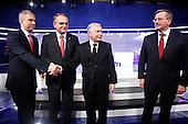 WARSAW, POLAND, JUNE 13, 2010:.From left- Grzegorz Napieralski, Waldemar Pawlak, Jaroslaw Kaczynski, Bronislaw Komorowski..Debate between the presidential candidates in a Polish TV..(Photo by Piotr Malecki / Napo Images)..WARSZAWA, 12/06/2010:.Od lewej - Grzegorz Napieralski, Waldemar Pawlak, Jaroslaw Kaczynski, Bronislaw Komorowski..Debata miedzy kandydatami w TVP 1.Fot: Piotr Malecki / Napo Images.