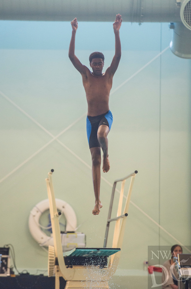 NWA Democrat-Gazette/ANTHONY REYES @NWATONYR<br /> Caivon Crosby of Bryant during the Arkansas State Dive meet Friday, Feb. 24, 2017 at the Bentonville Community Center in Bentonville.