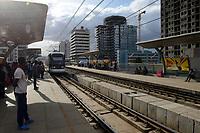 ETHIOPIA , Addis Ababa, LRT Light rail transport, green line, build by chinese company  / AETHIOPIEN, Addis Abeba, Stadtbahn Linie, gebaut durch chinesische Firma line, build by chinese company  / AETHIOPIEN, Addis Abeba, Stadtbahn Linie, gebaut durch chinesische Firma