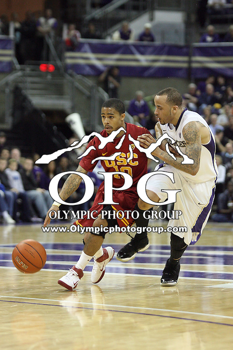 Mar 05, 2011:  Washington's #2 Venoy Overton tries to slow down USC's #10 Maurice Jones as he drives the ball down court.  USC defeated Washington 62-60 at Alaska Airlines Arena Seattle, Washington...