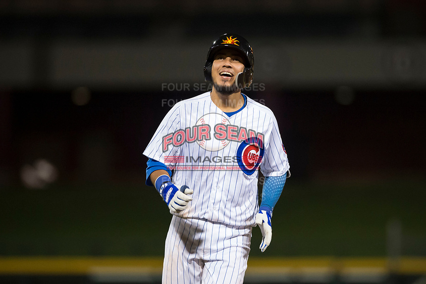 Mesa Solar Sox catcher Jhonny Pereda (6), of the Chicago Cubs organization, during an Arizona Fall League game against the Scottsdale Scorpions at Sloan Park on October 10, 2018 in Mesa, Arizona. Scottsdale defeated Mesa 10-3. (Zachary Lucy/Four Seam Images)