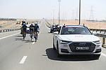 The breakaway featuring Black Jersey Stepan Kuriyanov and Igor Boev (RUS) of Gazpom-Rusvelo and Charles Planet (FRA) and Fabio Calabria (AUS) of Team Novo Nordisk during Stage 3 of the 2019 UAE Tour, running 179km form Al Ain to Jebel Hafeet, Abu Dhabi, United Arab Emirates. 26th February 2019.<br /> Picture: LaPresse/Fabio Ferrari | Cyclefile<br /> <br /> <br /> All photos usage must carry mandatory copyright credit (© Cyclefile | LaPresse/Fabio Ferrari)