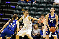 Penn guard Kaitlyn Marenyi (10) blocks the passing lane during the IHSAA Class 4A Girls Basketball State Championship Game on Saturday, Feb. 27, 2016, at Bankers Life Fieldhouse in Indianapolis.
