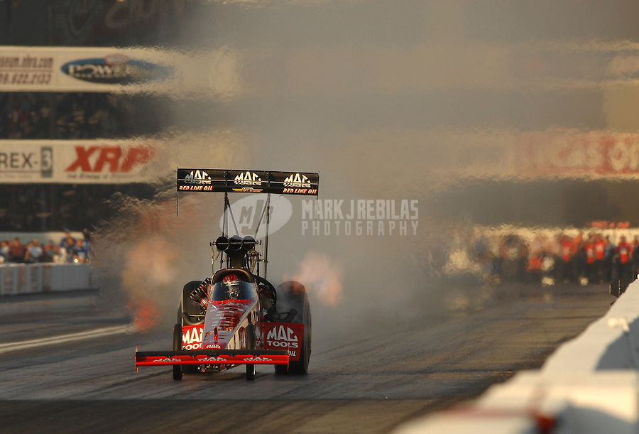 Nov 3, 2007; Pomona, CA, USA; NHRA top fuel dragster driver Doug Kalitta during qualifying for the Auto Club Finals at Auto Club Raceway at Pomona. Mandatory Credit: Mark J. Rebilas-US PRESSWIRE