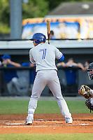 Matt Morgan (7) of the Bluefield Blue Jays at bat against the Burlington Royals at Burlington Athletic Stadium on June 28, 2016 in Burlington, North Carolina.  The Royals defeated the Blue Jays 4-0.  (Brian Westerholt/Four Seam Images)