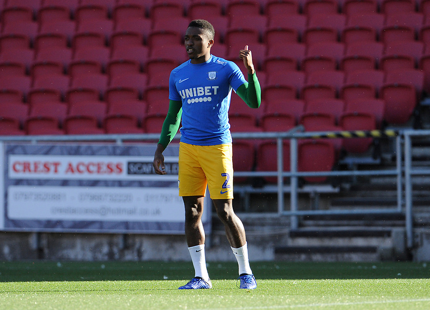 Preston North End's Darnell Fisher during the pre-match warm-up <br /> <br /> Photographer Ian Cook/CameraSport<br /> <br /> The EFL Sky Bet Championship - Bristol City v Preston North End - Wednesday July 22nd 2020 - Ashton Gate Stadium - Bristol <br /> <br /> World Copyright © 2020 CameraSport. All rights reserved. 43 Linden Ave. Countesthorpe. Leicester. England. LE8 5PG - Tel: +44 (0) 116 277 4147 - admin@camerasport.com - www.camerasport.com