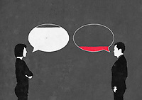 Man and woman arguing with full and empty speech bubbles ExclusiveImage