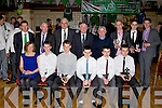 Castleisland AFC players who were presented awards at the Castleisland AFC social in the River Island Hotel on Saturday night front row l-r: Mary Mahony, Derek Breen, Damian Breen, Brian Hanrahan, Timmy Browne, Paul Nelligan. Back row: Patrick O'Rourke, Sean Gallagher, John Mitchell, Paddy McCaul FAI President, Georgie O'Callaghan, Tomas Brosnan, Tommy Feehan and David Conroy