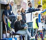 AMSTELVEEN - assistent coach Marieke Dijkstra (Pinoke) met rechts coach Jesse Mahieu (Pinoke) en links Marlon Landbrug (Pinoke).    Hoofdklasse competitie heren. Pinoke-SCHC (0-1) . COPYRIGHT  KOEN SUYK