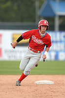 Ryan McKenna (18) of St. Thomas Aquinas in Berwick, Maine playing for the Philadelphia Phillies scout team during the East Coast Pro Showcase on July 30, 2014 at NBT Bank Stadium in Syracuse, New York.  (Mike Janes/Four Seam Images)