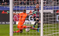 Filip Kostic (Eintracht Frankfurt) gegen Torwart Lukas Hradecky (Bayer Leverkusen) - 18.10.2019: Eintracht Frankfurt vs. Bayer 04 Leverkusen, Commerzbank Arena, <br /> DISCLAIMER: DFL regulations prohibit any use of photographs as image sequences and/or quasi-video.